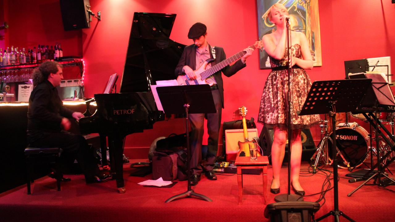 Mae Collard trio performing at Dizzy's Jazz Club in Melbourne